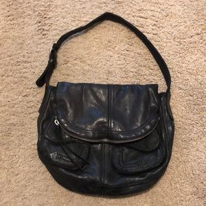 Lucky brand black genuine leather shoulder bag